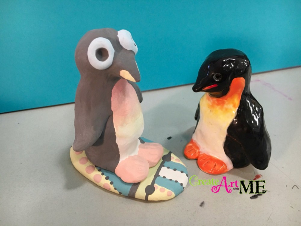 medium resolution of Ceramic Surfer Dude Penguin and Surfboard Thumb Clay Lesson - Create Art  with ME
