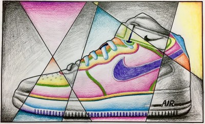 abstract shoe drawing black and white with color