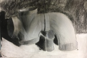pvc pipe charcoal drawing