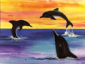 Dry Pastel Dolphin Ocean Sunset art project special olympics artist