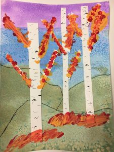 fall trees mixed media painting and collage