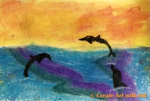 Dry Pastel Dolphin Ocean Sunset art project