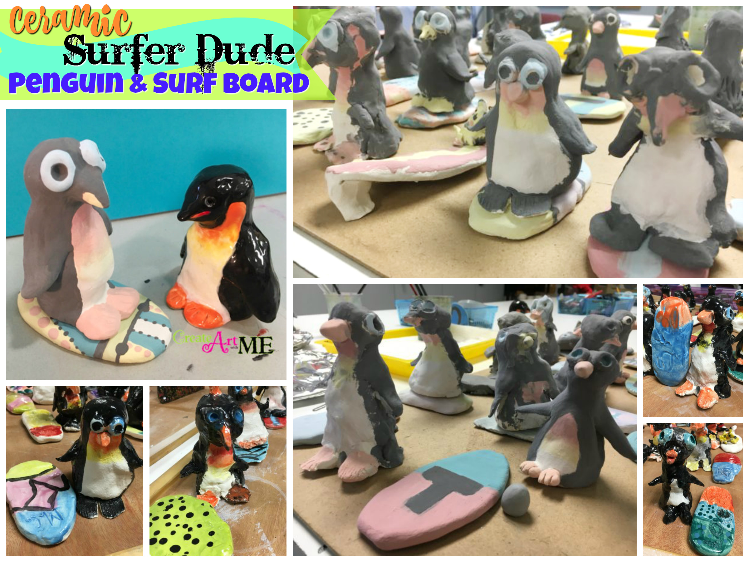 Ceramic Surfer Dude Penguin And Surfboard Thumb Clay