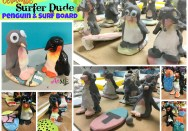 Ceramic Surfer Dude Penguin and Surfboard - Thumb Clay Lesson