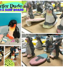 Ceramic Surfer Dude Penguin and Surfboard Thumb Clay Lesson - Create Art  with ME [ 1800 x 2400 Pixel ]