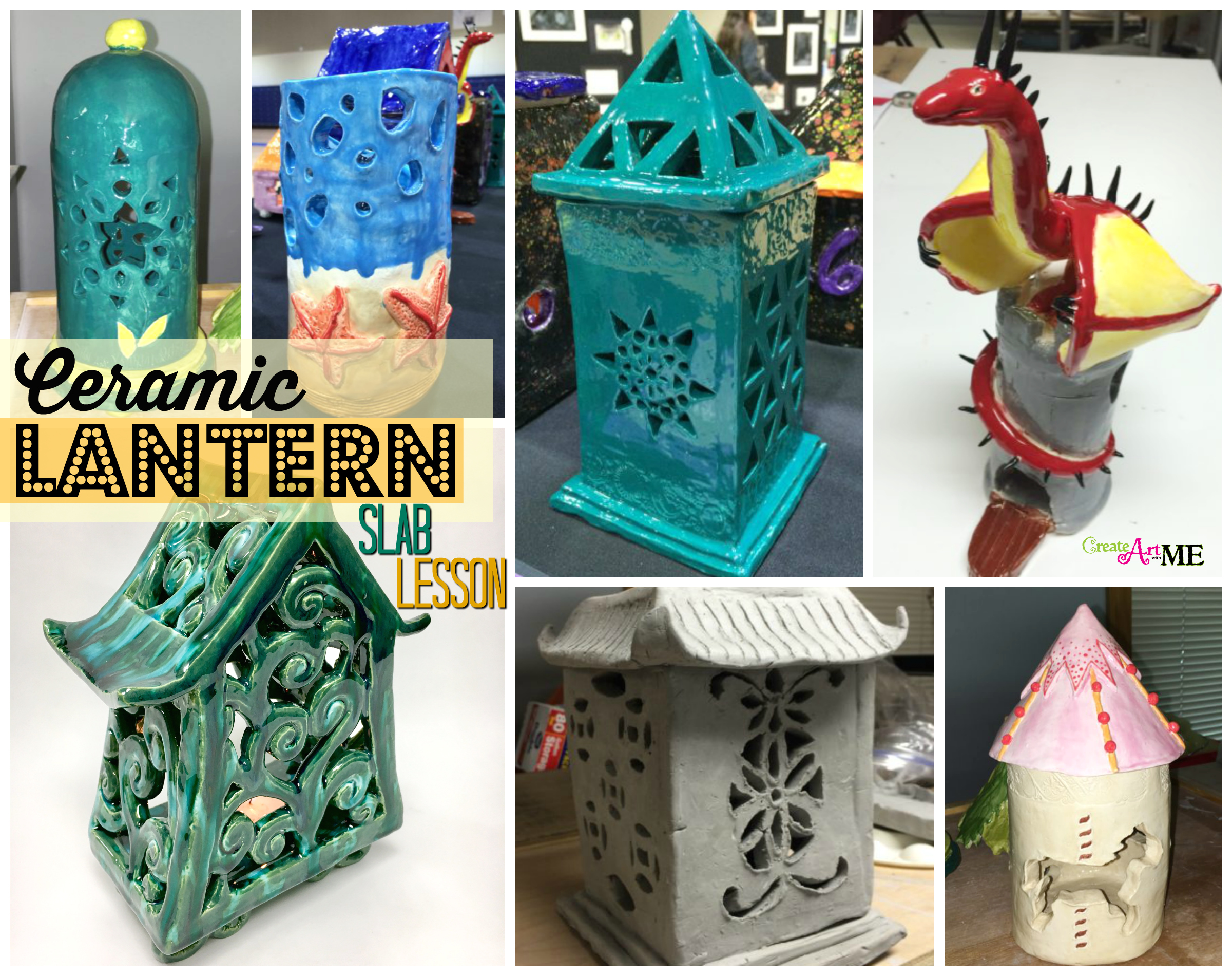 Ceramic Slab Lanterns Cut Out Design