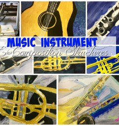 Music Instruments and Composition Watercolor Painting Lesson - Create Art  with ME [ 1900 x 2400 Pixel ]