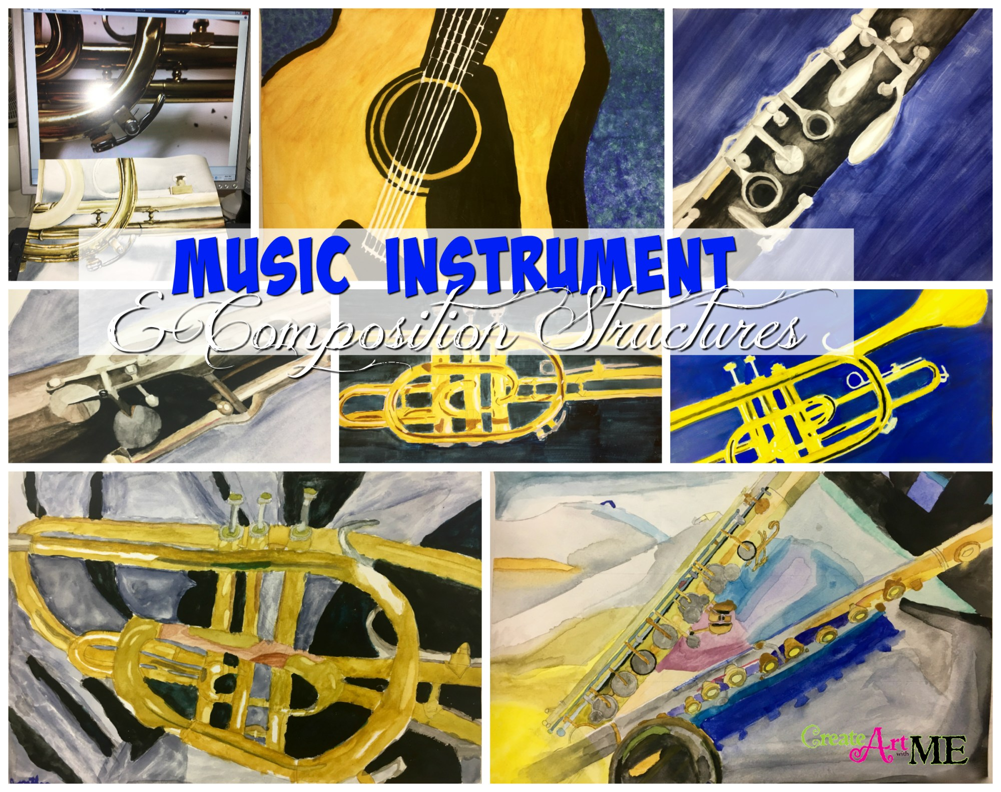 hight resolution of Music Instruments and Composition Watercolor Painting Lesson - Create Art  with ME