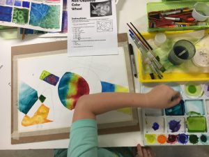 non-objective color wheel watercolor painting lesson