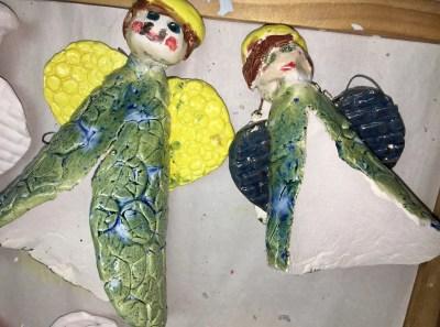 Clay slab angel ornament