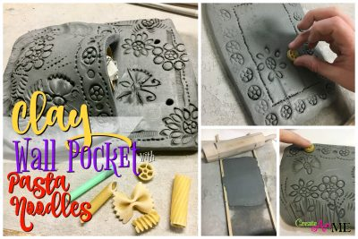 Clay Slab Wall Pocket with Pasta Noodle Designs