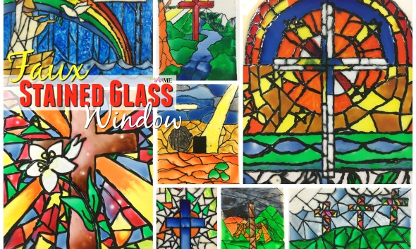 faux stained glass Art Lesson