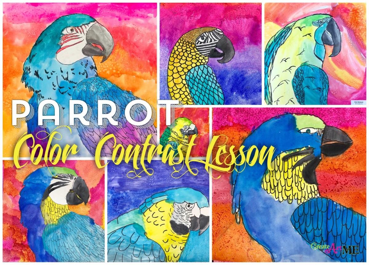 Parrot Color Contrast Watercolor Lesson