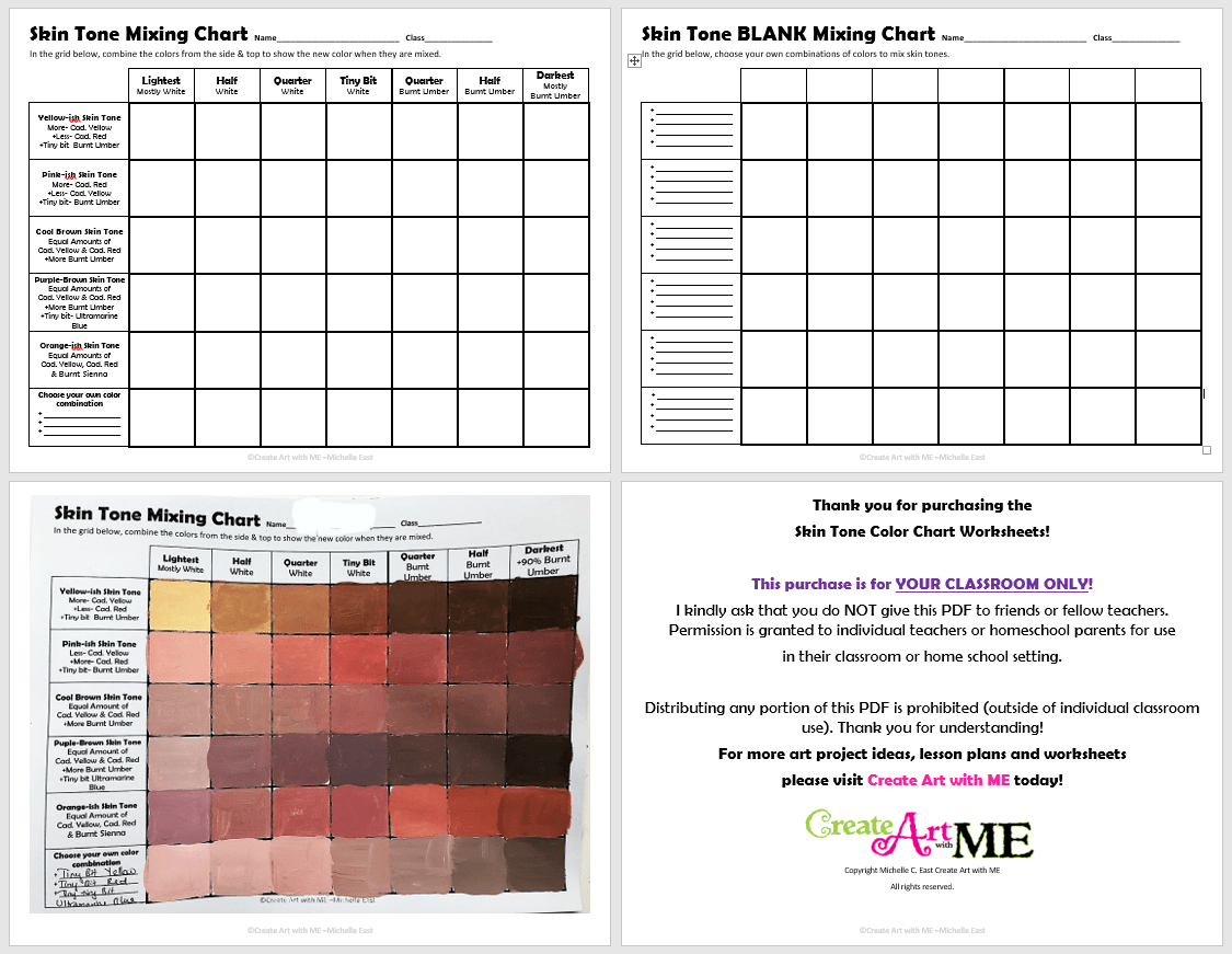 Skin Tone Color Mixing Chart Preview - Create Art with ME [ 871 x 1125 Pixel ]