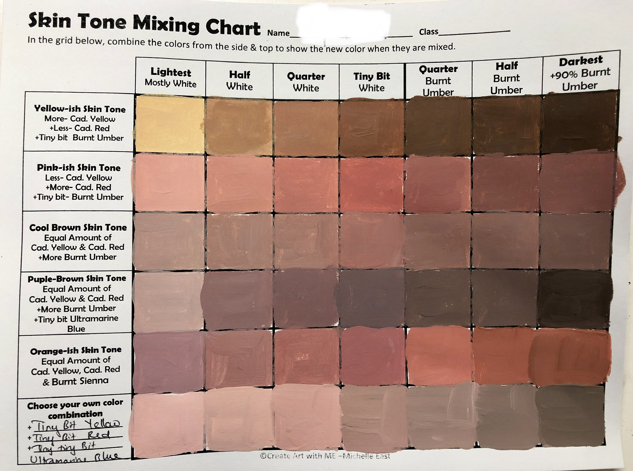 Skin Tone Mixing Chart Example - Create Art with ME [ 1570 x 2107 Pixel ]