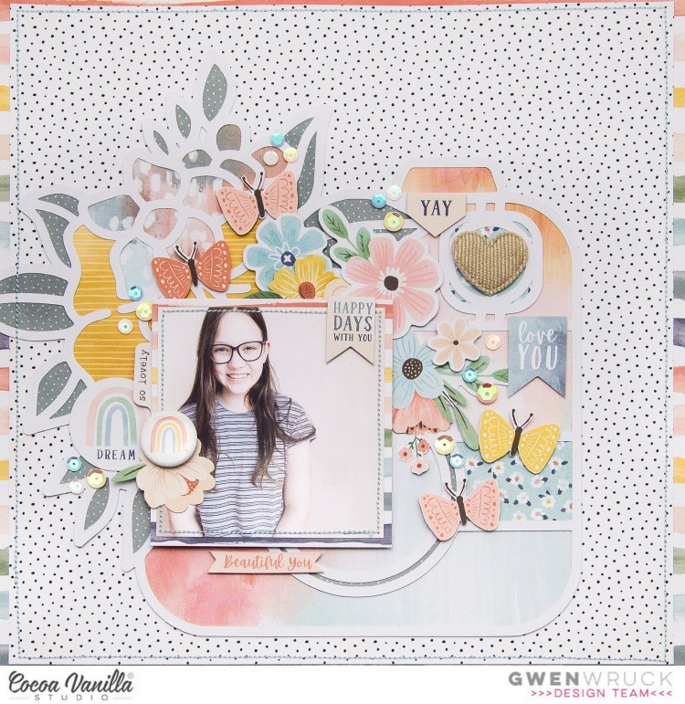 Soft and feminine Scrapbooking Layout featuring floral elements and large camera cut file.