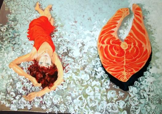 """Fish on Display"" - original painting, acrylic on canvas 200x155 cm"