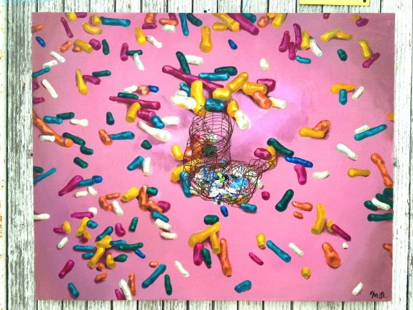"""SOLD """"Addiction"""", acrylic on canvas, metal grid, candy wraps"""