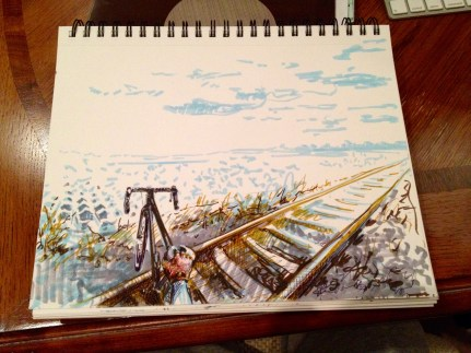 Crossing Railway - illustration, markers on paper
