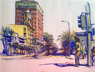 Long Beach - sketch5 - cityscape sketch, markers on paper