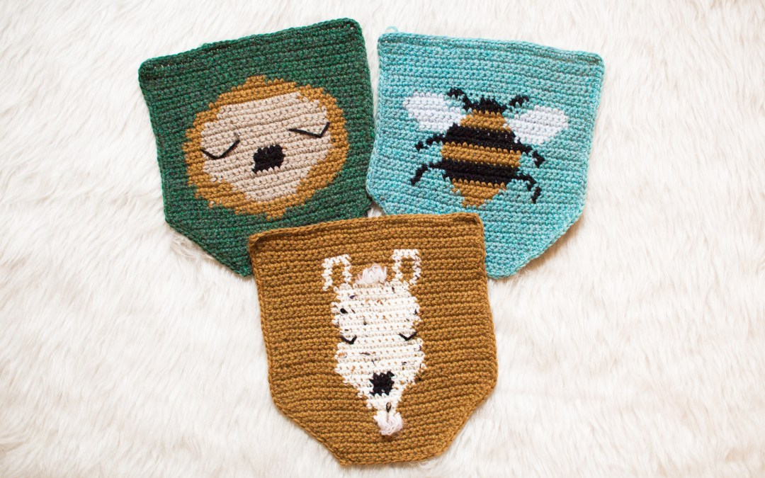 Mini Wall Hangings Bundle; Sloth, Alpaca, Bee