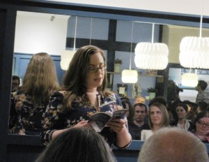 Christina Thatcher reading at her launch event in Waterstones, Cardiff