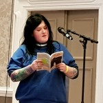 Poet Rhian Elizabeth reading at the Cardiff Book Festival