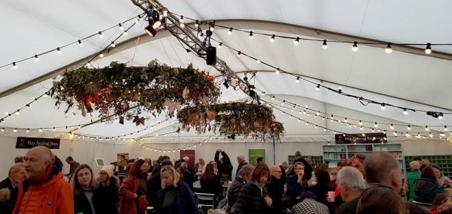 inside the tent at the Hay Festival Winter Weekend