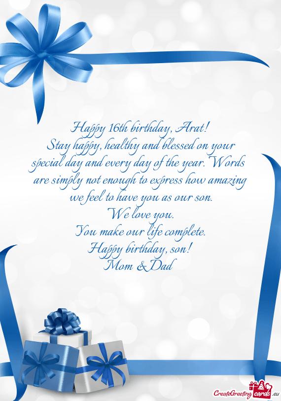 Happy 16th Birthday Son From Mom : happy, birthday, Happy, Birthday,, Cards