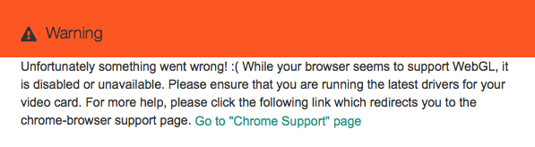 This message indicates that there is a problem with WebGL in your browser.