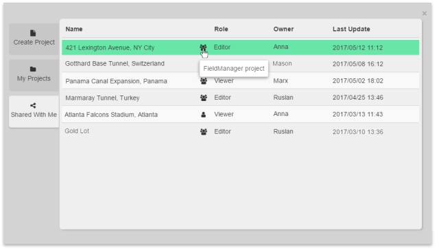 FieldManager Screenshot: Projects Shared With Me