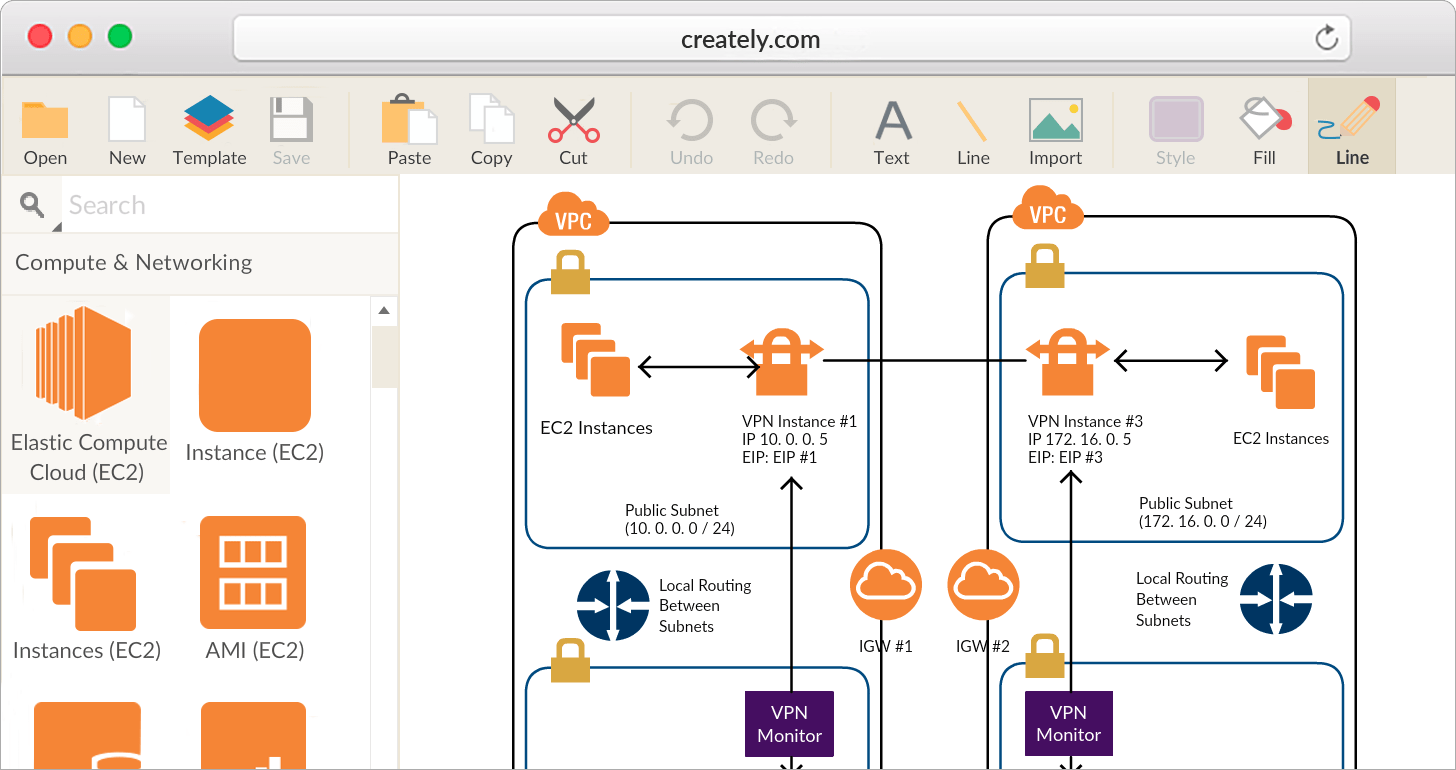 hight resolution of draw aws diagrams with easy to use drag and drop interface