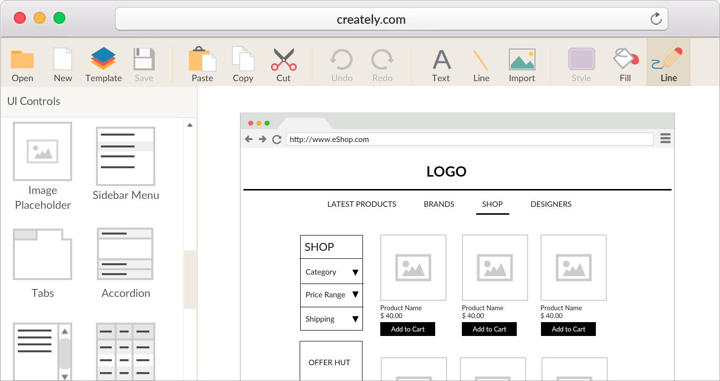 website wireframe diagram example evacuation plan software online and ui mockup tool creately