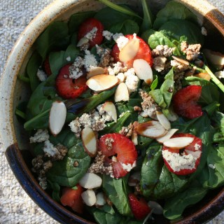 Strawberry, Almond, and Soy Bleu Salad with Black Cherry Vinegar