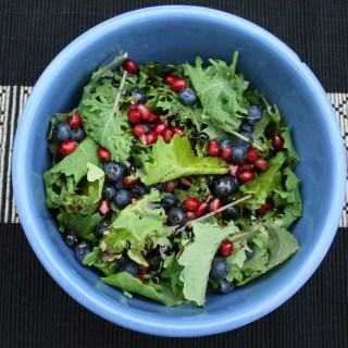 Kale Salad with Blueberries and Pomegranate