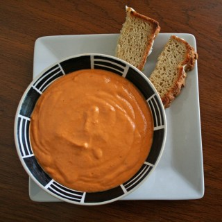 Creamy Tomato Basil Soup with Spicy Vegan Grilled Cheese