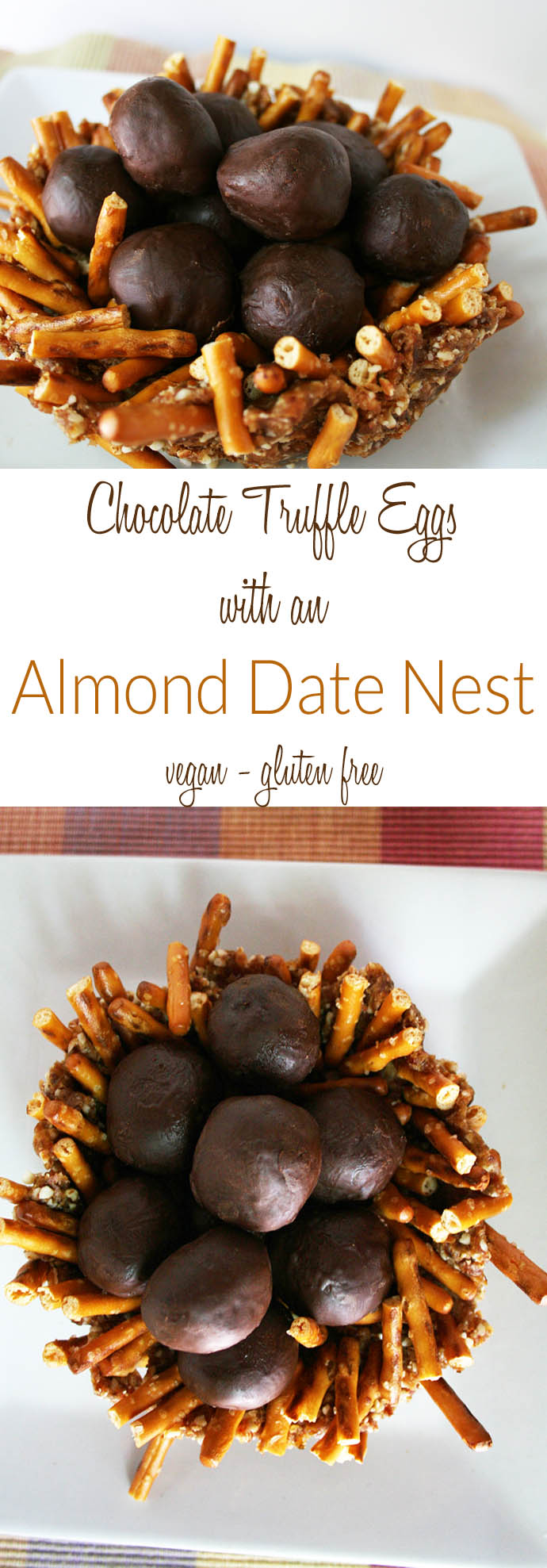 Chocolate Truffle Eggs with an Almond Date Nest for Easter (vegan, gluten free) - This sweet dessert is sure to impress. Made with an almond date pretzel nest.
