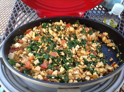 Camping Tofu Scramble (vegan, gluten free) - This savory breakfast is quick and easy to make. Customize it to your liking!