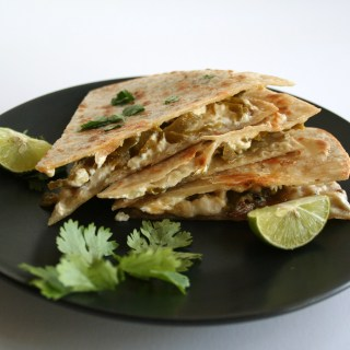 Vegan Quesadilla with Roasted Green Chiles