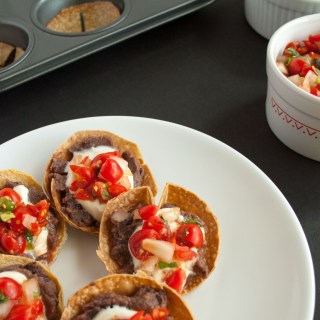 Mini Bean Tostadas with Pico de Gallo and Vegan Sour Cream