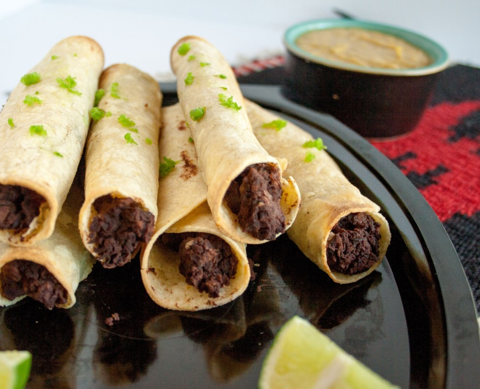 Bean Taquitos with Vegan Nacho Cheese (gluten free) - These taquitos are packed with protein. You may want to eat them as an entrée, they are so filling.