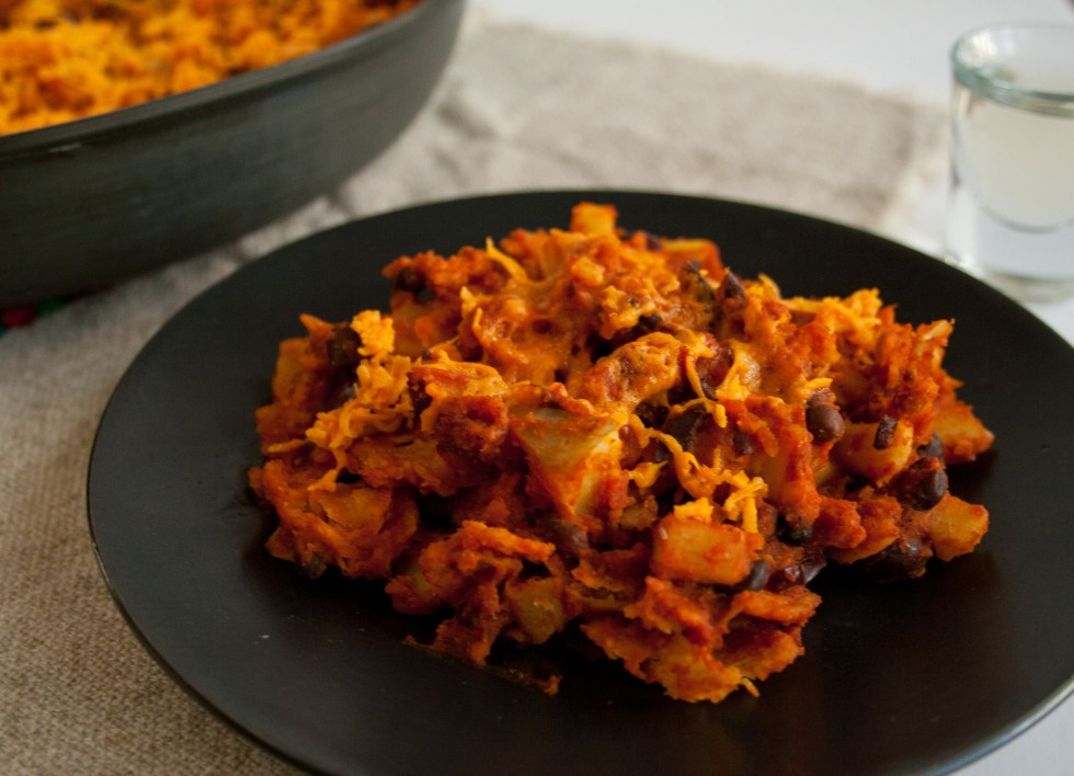 Black Bean and Sweet Potato Chilaquiles (vegan, gluten free) - These destroyed enchiladas, as we call them, have the same taste, but with less work.