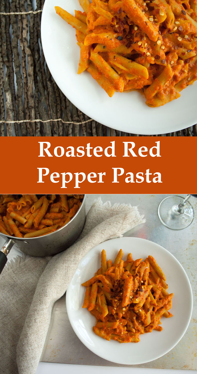 Roasted Red Pepper Pasta (vegan, gluten free) - This rich comforting recipe is perfect for a weeknight meal. It is quick and easy to make.