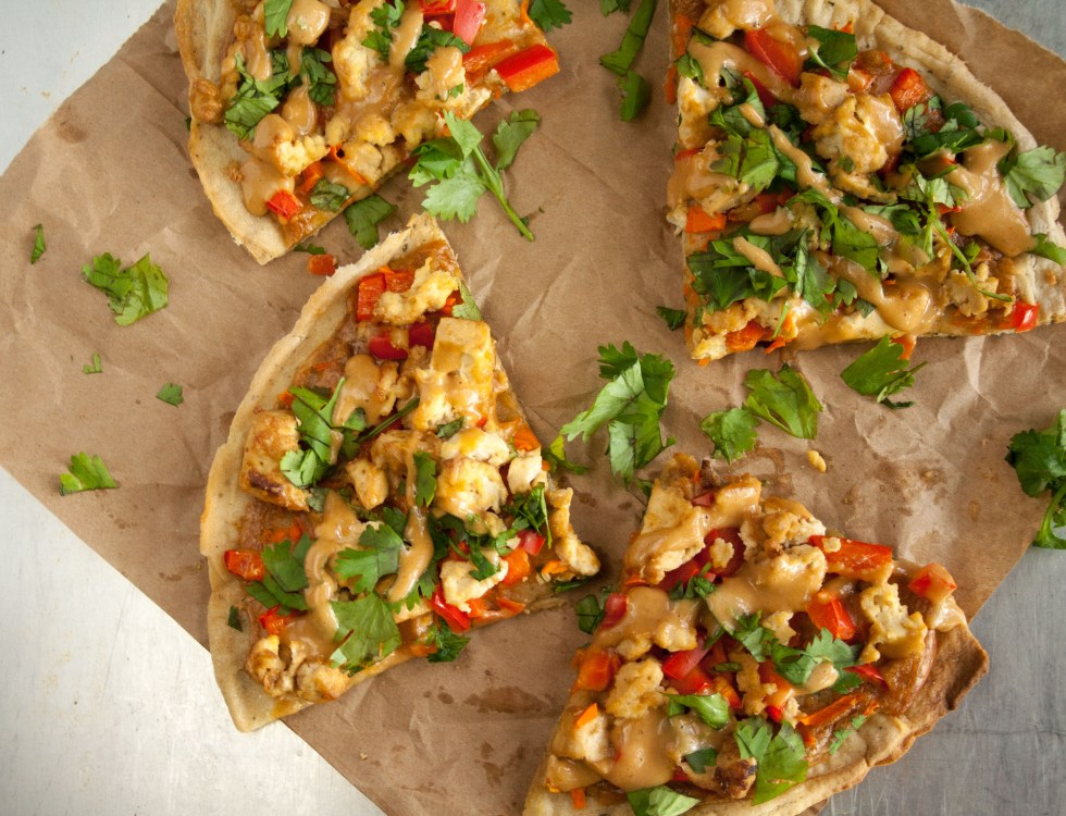 Thai Pizza (vegan, gluten free) -This pizza has the the flavors of Thai spring rolls on a crispy pizza crust. The peanut sauce is out of this world good!