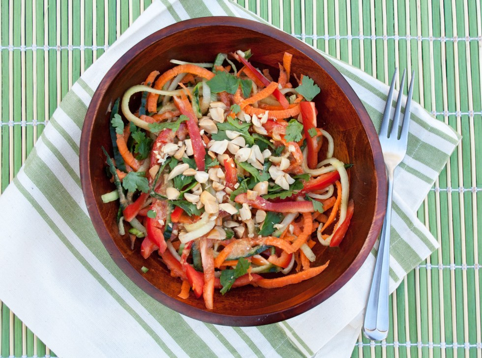 Cucumber and Carrot Noodles with Peanut Sauce (vegan, gluten free) - This Thai inspired salad has all the ingredients of spring rolls, but in salad form.