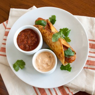 Vegan Hot Dog Taquitos with Chipotle Mayo