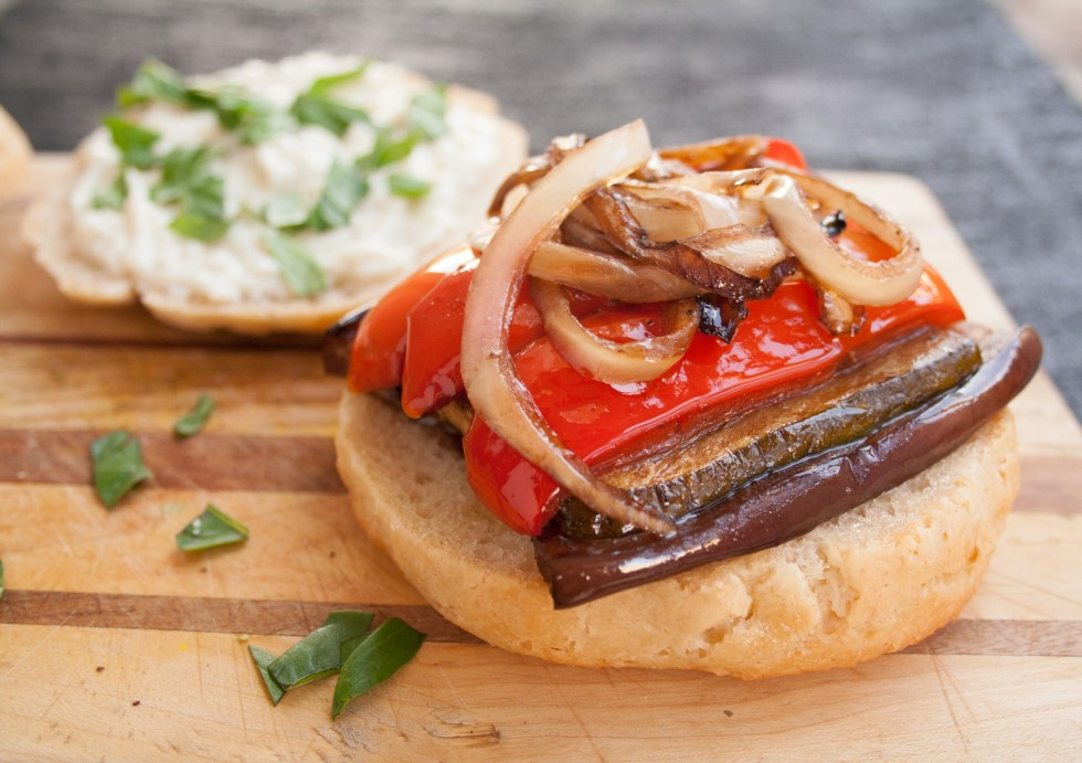 Balsamic Roasted Vegetable Sandwich - This vegan gluten free sandwich is rich and satisfying. Roasted garlic mayo compliments the roasted vegetables, basil, and balsamic vinegar.