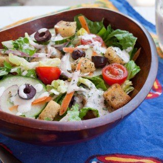 Garden Salad with Herbed Croutons and Vegan Ranch Dressing