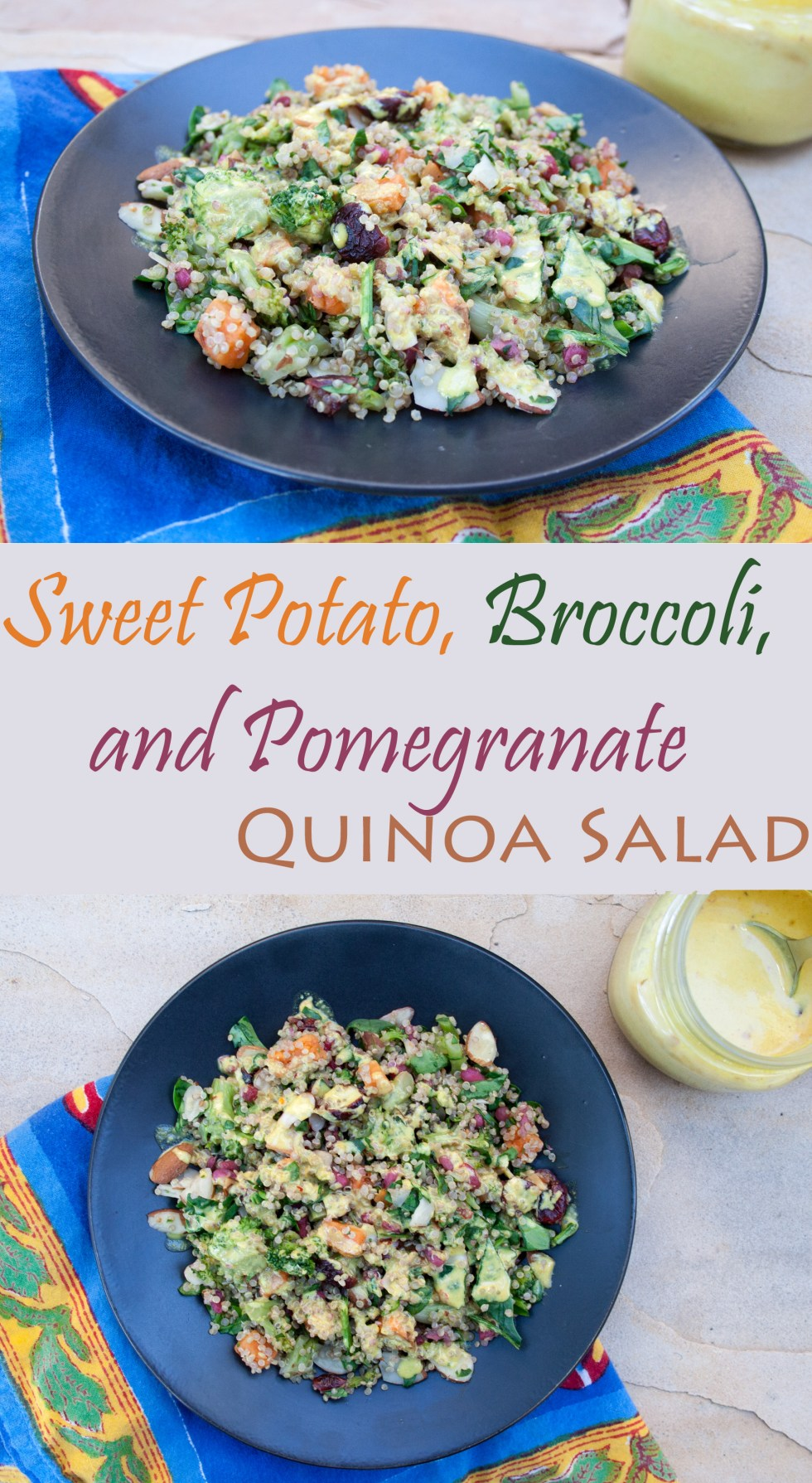 Sweet Potato, Broccoli, and Pomegranate Quinoa Salad - This sweet and savory vegan gluten free salad is perfect for a potluck or party because it can be served at room temperature.