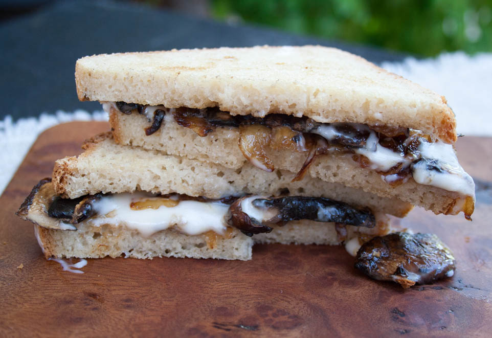 Vegan Caramelized Onion and Mushroom Grilled Cheese (vegan, gluten free) - This rich, sweet, and savory sandwich is an easy meal. Caramelized onions elevate grilled vegan cheese to another level!